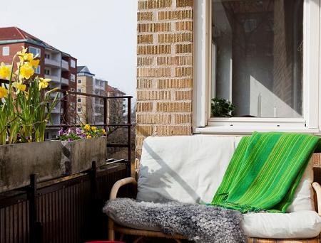 Balcón con banco