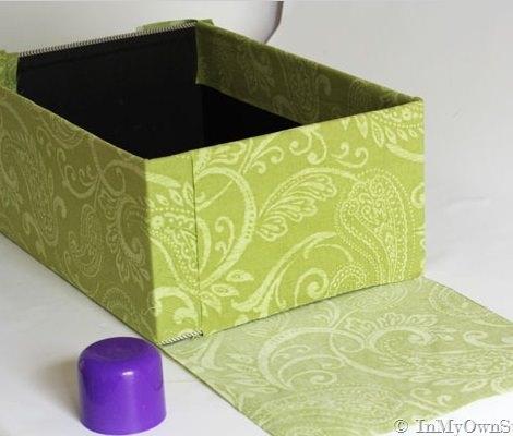 pasos para forrar cajas de cartón pegar tela
