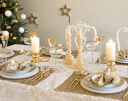 Mesa de Navidad, muy sofisticada en tonos dorados!