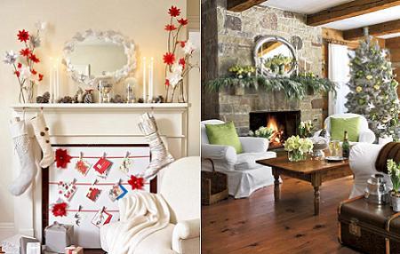 Decoración de Navidad para la chimenea