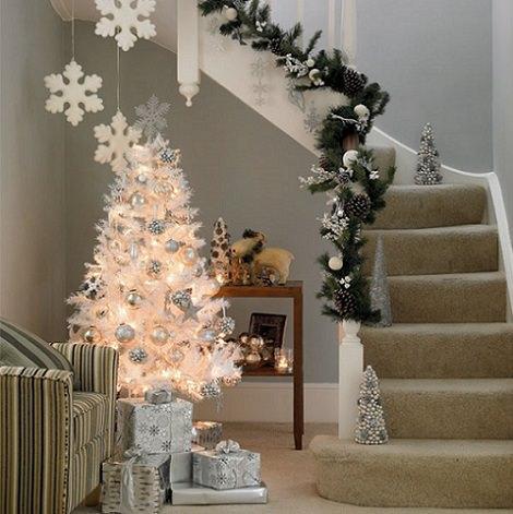 fotografías de inspiración para decorar tu casa en navidad de blanco