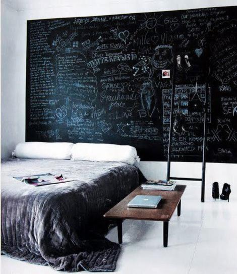 Pintura de pizarra en la habitación