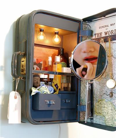 armario de baño en una maleta