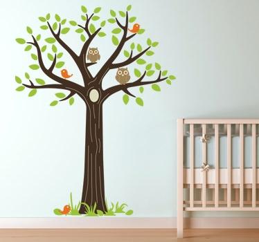 vinilos decorativos con buhos rama para dormitorios infantiles