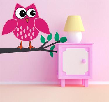 vinilos decorativos con buhos rosas para dormitorios infantiles